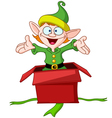 elf jumps from gift box vector image