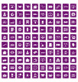 100 shopping icons set grunge purple vector image vector image