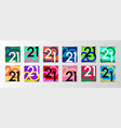 2021 happy new year set colorful square posters vector image
