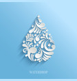 Abstract Floral Water Drop on Blue Background vector image