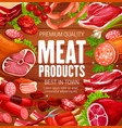 butchery meat and sausages butcher shop products vector image vector image