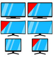 cartoon black modern tv set isolated on white vector image