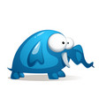 cartoon funny cute blue elephant vector image