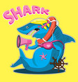 character is a female shark with a steering wheel vector image vector image