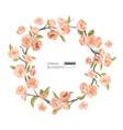 cherry blossom border realistic spring flowers vector image