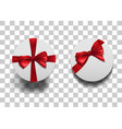 closed round boxes wiht bow set vector image vector image