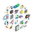 cloud icons set isometric style vector image