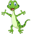 Cute green lizard posing isolated vector image vector image