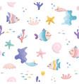 cute sea fish characters cartoon seamless pattern vector image