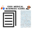 document pages icon with 1300 medical business vector image vector image