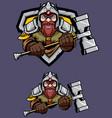 dwarf mascot logo vector image vector image