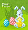 easter bunny egg hunt cartoon rabbit greeting vector image vector image