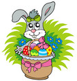 easter bunny with eggs in basket vector image