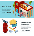 firefighters banners proffesional items fire vector image vector image