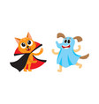 flat cat dracula dressed up ghost dog set vector image