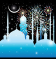 graphics mosque and fireworks vector image vector image