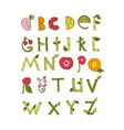 Hand drawn alphabet - Nature and Fruits vector image vector image