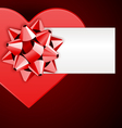 heart box with bow and card vector image vector image