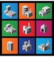 Icons with factories and plants vector image vector image