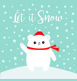 let it snow polar white bear cub waving hand paw vector image