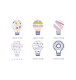 light bulbs with geometric elements set modern vector image vector image