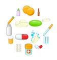 medicine drugs icons set cartoon style vector image