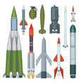 missile collection defense flight armour military vector image vector image