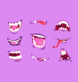 monster mouths cartoon scary and crazy faces vector image vector image