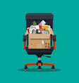 office chair box with office itmes vector image vector image