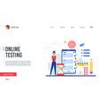 online testing platform landing page man using vector image vector image