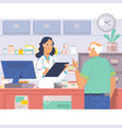 pharmacist at counter in pharmacyman buys drugs vector image vector image