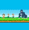 pixel people run away from gorilla pixel-game vector image