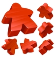 red wooden meeple set vector image vector image