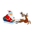 santa claus is riding in a sleigh christmas vector image vector image