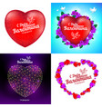 set happy valentines day greeting cards vector image