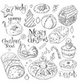 set of different christmas and winter desserts vector image vector image