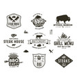 set of vintage steak house bbq party barbecue vector image vector image