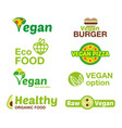 set vegan logo vector image