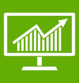 statistics on monitor icon green vector image vector image