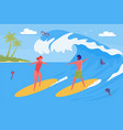 surfers couple spending vacation together on beach vector image