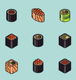sushi flat outline isomeric icons vector image vector image