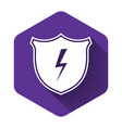 white secure shield with lightning icon isolated vector image vector image