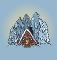 winter forest scene cabin log flat vector image