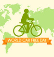 world car free day with bicycle background flat vector image
