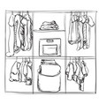 hand drawn wardrobe sketch clothes vector image
