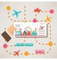 hand holding travel ticket travel around the world vector image