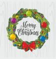 christmas wreath and christmas tree toys vector image