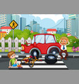 accident scene with car crash in city vector image vector image