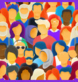 big crowd different race people seamless vector image