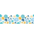 Blue and yellow flowersilhouettes horizontal vector image vector image